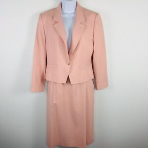 Pendleton Petite Womens Skirt Suit Sz 10 Pink Wool One Button Blazer Pencil ZZ42
