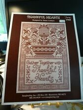"""Counted Cross Stitch Pattern """"Thankful Hearts"""" sampler   new"""