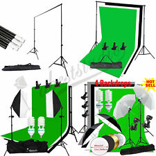 Photography Studio Lighting Kit Photo Softbox Backdrops Background Umbrella Set