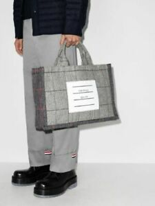 Thom Browne Grey Tote Bag | 100% Authentic | Checkerd Check Wool