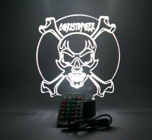 Skull Crossbones Night Light Up Lamp LED Personalized Free Engraved With Remote