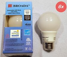 (6x) LED Dimmable 7w G19 Small Vanity Globe Bulbs A19 (2-1/2 in) Warm White E26