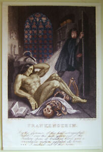 """Large Format Hi-Q Art Poster of 1831 First Frankenstein Illustration 36"""" x 24"""""""