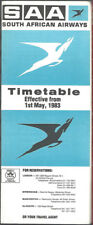 South African Airways UK system timetable 5/1/83 [7121]
