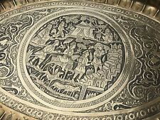Magnificent Vintage Persian qalamzani Oval Brass Tray Signed Azarbaijani