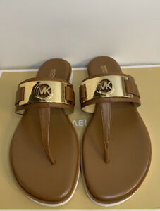 New - Women's Michael Kors Briar Luggage Leather Thong Sandals Size 9