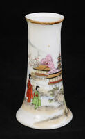 Antique Handpainted Nippon TN Bud Vase or Hat Pin Holder Japan Village Scene L6Y