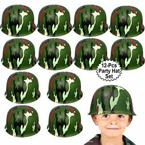 Anapoliz Army Helmets for Kids   12 Count Plastic Camouflage Hats   Soldier