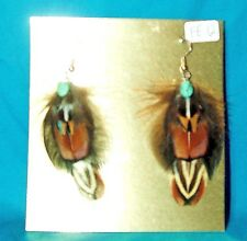 Pheasant Feather Earrings w Real Turquoise Stone Regalia FREE SHIPPING FE12