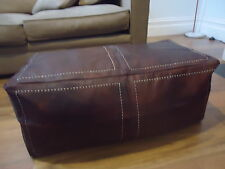 Rectangle Moroccan Leather Ottoman Pouffe Pouf Footstool Coffee Table Chocolate