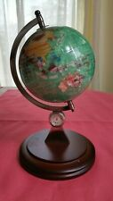 "Mother of Pearl Globe  Gemstone Inlay On wood Stand W/ Compass,clock  8.5""Tall"