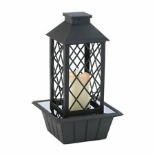 Tabletop Water Fountain LED Candle Lantern Light Cascading Table Desk - Black