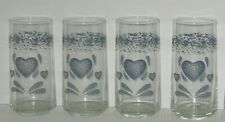 Corelle Blue Heart  4 water glasses clean and clear!!! 2 sets available