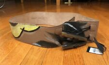 NWT! BURBERRY PRORSUM HAND PAINTED BROWN LEATHER WIDE BELT TOGGLE BUCKLE 44/110