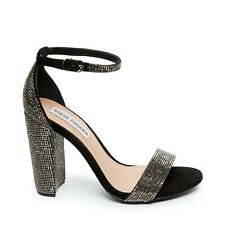 Steve Madden Carrson Rhinestone Heeled Sandals Black Crystal Size 7.5