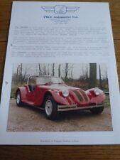 """Pike automotive invader kit de ventes de voitures """"brochure""""/feuilles 1987"""