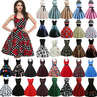 Womens Vintage 50s Rockabilly Swing Dress Evening Party Cocktail Pinup Ball Gown