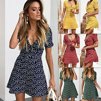 Womens Chiffon Floral V Neck Tea Dress Summer Beach Casual Short Mini Dresses