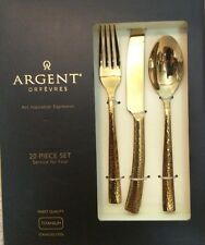 Argent Orfevres PARIS HAMMERED GOLD 24k GOLD plated 20pc Serving set for 4 - NEW