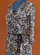 NWT Womens MILLERS Wrap Look Long Sleeve Top 14 Size 16 Black & White Ladies NEW