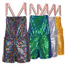 Adult Sequin Dungarees Ladies Shorts Hotpants Sparkle Festival Rave Fancy Dress