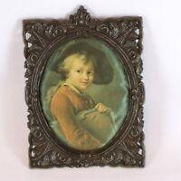 Silk Satin Oval Scolaretto Drovais Ornate Boy Cast Metal Curio Frame Vintage