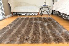 3' x 5' Brown Mountain Coyote Faux Fur Throw Rug Lodge Cabin Decor Furry Rug New