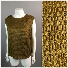 Vintage Nos 1960s Gold Woven Crotchet Knit Sleeveless Cropped Blouse Crop Top L