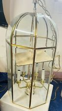 Vtg Solid Brass Beveled Glass Chandelier Hanging Lamp Lantern Lighting 15�x7.5�