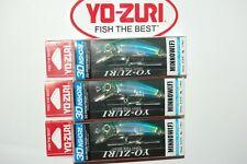 "3 lures yo zuri 3d inshore minnow floating 2 3/4"" 1/4oz r1211-hgm green mackerel"