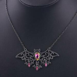 Vintage Halloween Necklace Alloy Bat Animal Pendant Red Rhinestone Necklaces