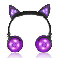 Foldable Kids Wireless Cat Ear Headphones Bluetooth Headset LED Lights Earphone
