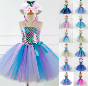 UK Girls Kid Tutu Party Little Mermaid Ariel Fancy Dress Costume Headband Outfit