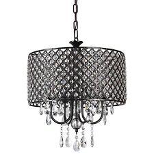 Afaura Antique Black Round Drum Shade 4-Light Crystal Chandelier Ceiling Fixture