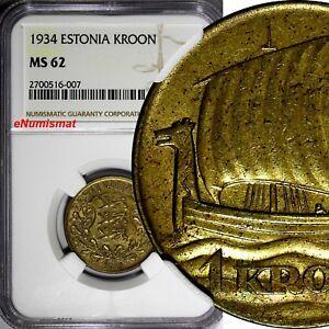 Estonia 1934 1 Kroon NGC MS62 ONE YEAR STRUCK Ship of Vikings KM# 16 (007)