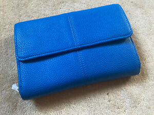 jewell by THIRTY-ONE Blue Clutch Purse Pebbled Faux Leather Detachable Strap NEW