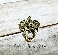 Dragon Pendant Antique Bronze Tone Dragon Charm Medieval Fairy Tale 2 sided