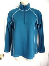 Eastern Mountain Sports S Top Shirt Long Sleeve Partial Zip Front Teal Blue NICE