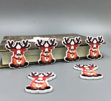50pcs Christmas Reindeer 2 Holes Wooden Sewing Buttons Scrapbooking Craft 35mm
