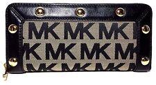 Michael Kors Delancy Black Monogram Continental Wallet (Black)