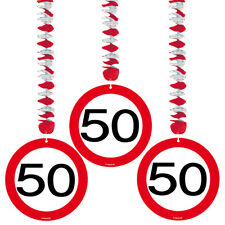 50TH BIRTHDAY PARTY SET 3 HANGING DECORATIONS AGE TRAFFIC SIGN
