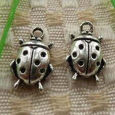 free ship 66 pieces tibetan silver ladybug charms 18x11mm #4108