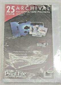 11.7x17-PR (25) PrintFile Archival Presentation Pockets - NEW Old Stock M100