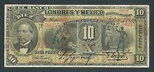 F.C. MEJICO MEXICO , BANCO DE LONDRES Y MEXICO , 10 PESOS 1909 , MBC- , P.S234d