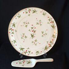 "Christopher Stuart Strawberry Fields 13"" Cake Plate Serving Platter with Server"