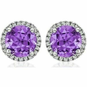 Natural Amethyst & CZ Gemstones 925 Sterling Silver Cufflinks For Men's