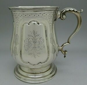 18th Century American Coin Silver Hand Chased Mug Goblet Cup Heavy Authentic