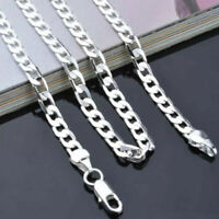 Lightweight Men's Hip Hop Punk 925 Sterling Silver Plated 4mm Chain Necklace