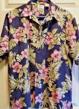 Pan Hana Hawaiian Shirt SS Med 100% Cotton Floral Pattern Blue