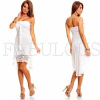 New Women's Sexy High Low Dress Crochet Lace Long Tops Size XS S M 6 8 10